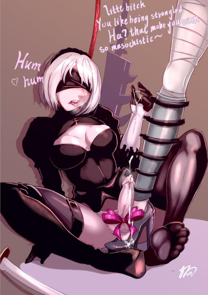 Nier Automata 2B cock strepped on domination humilation