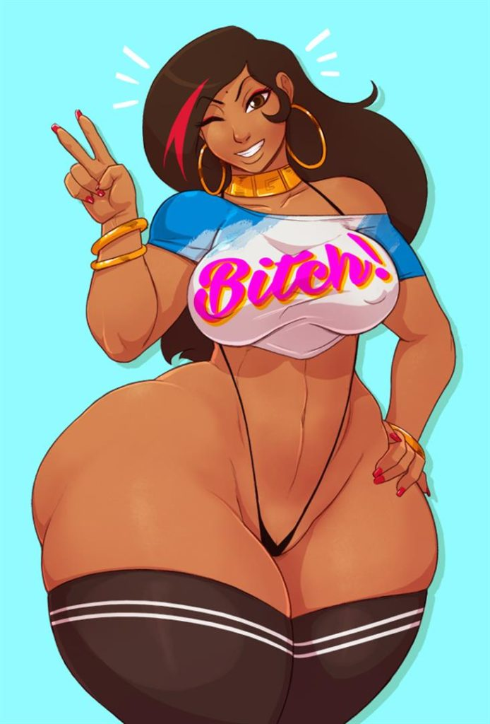 Dark cartoon porn babe with wide hips