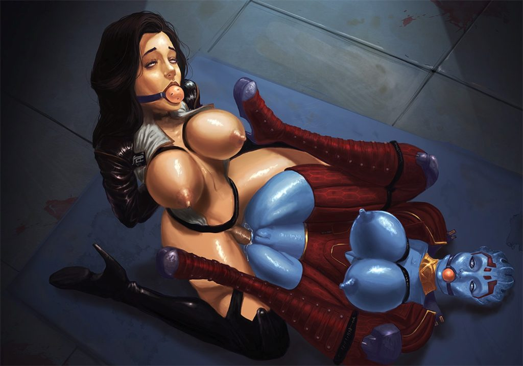 Mass effect Bondage futanari Miranda fucking Samara in the ass