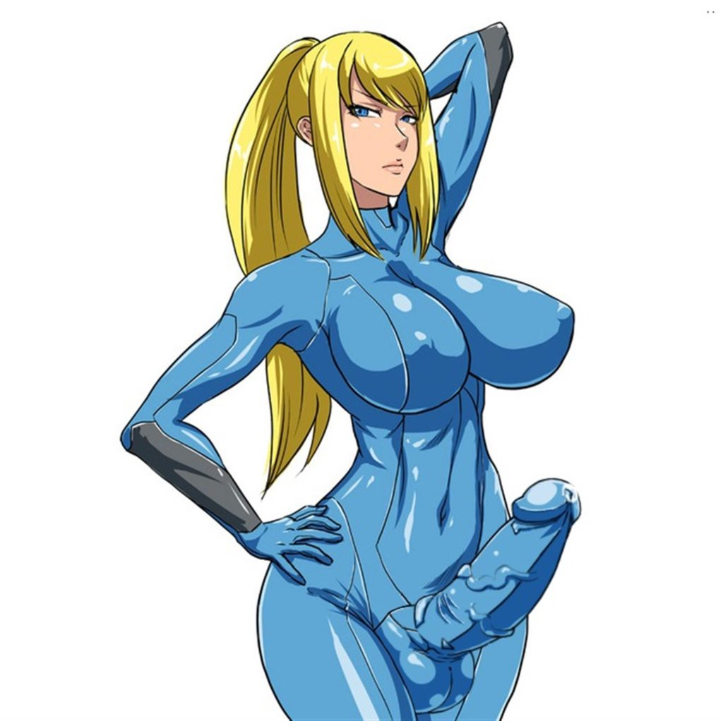 Samus Aran posing in zero suit erection under clothes