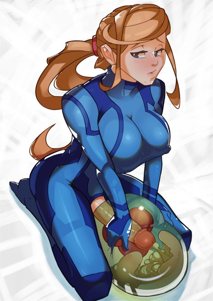 Samus fucking a metroid with futa dick