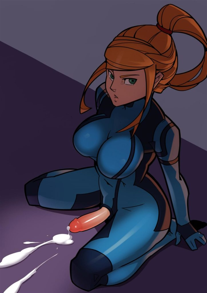 Samus Aran cumming on the floor