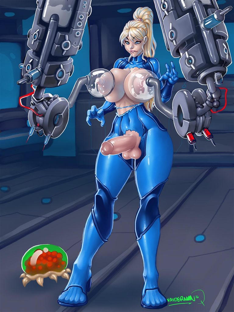 Samus Aran tits being miled bodysuit torn and dick haging out