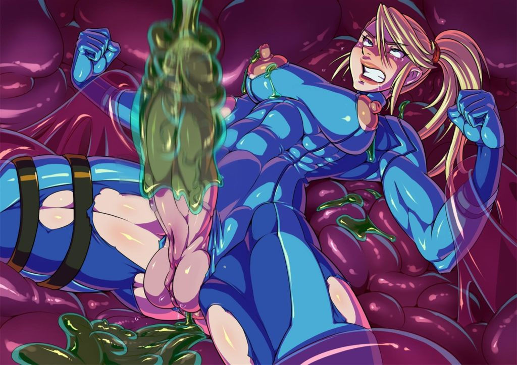 Samus Aran cock being milked by alien