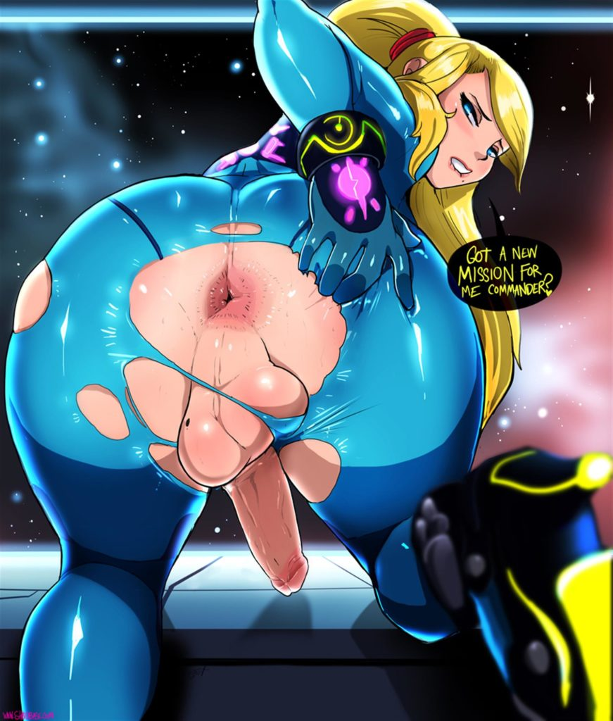 Samus Aran asking to be anally fucked