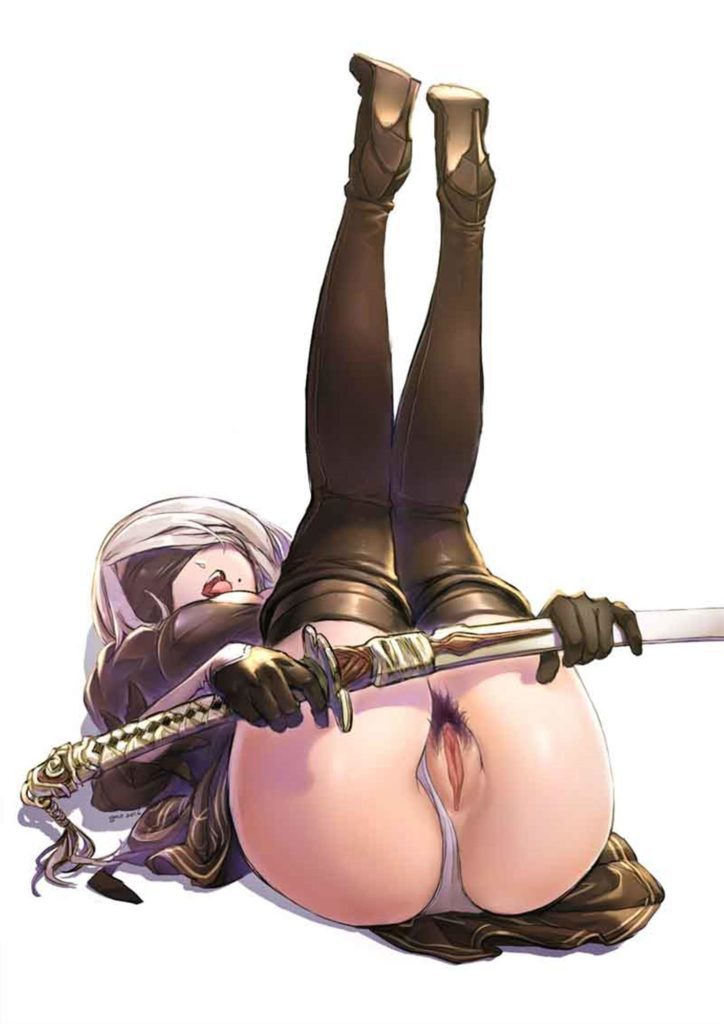 2B legs in the air panties to the side pussy hair