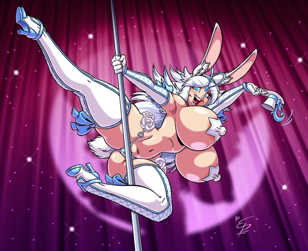 Bunnygirl Sponty poledancing with giant tits