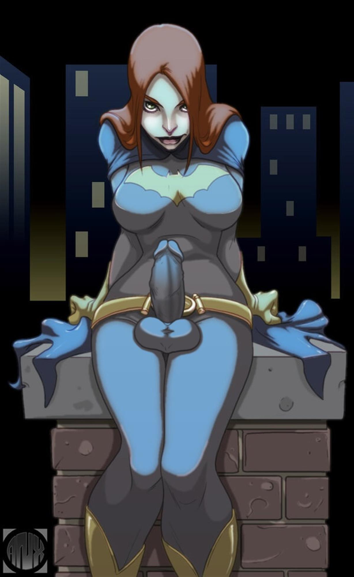 Batgirl being all dark and moody with an erect dick