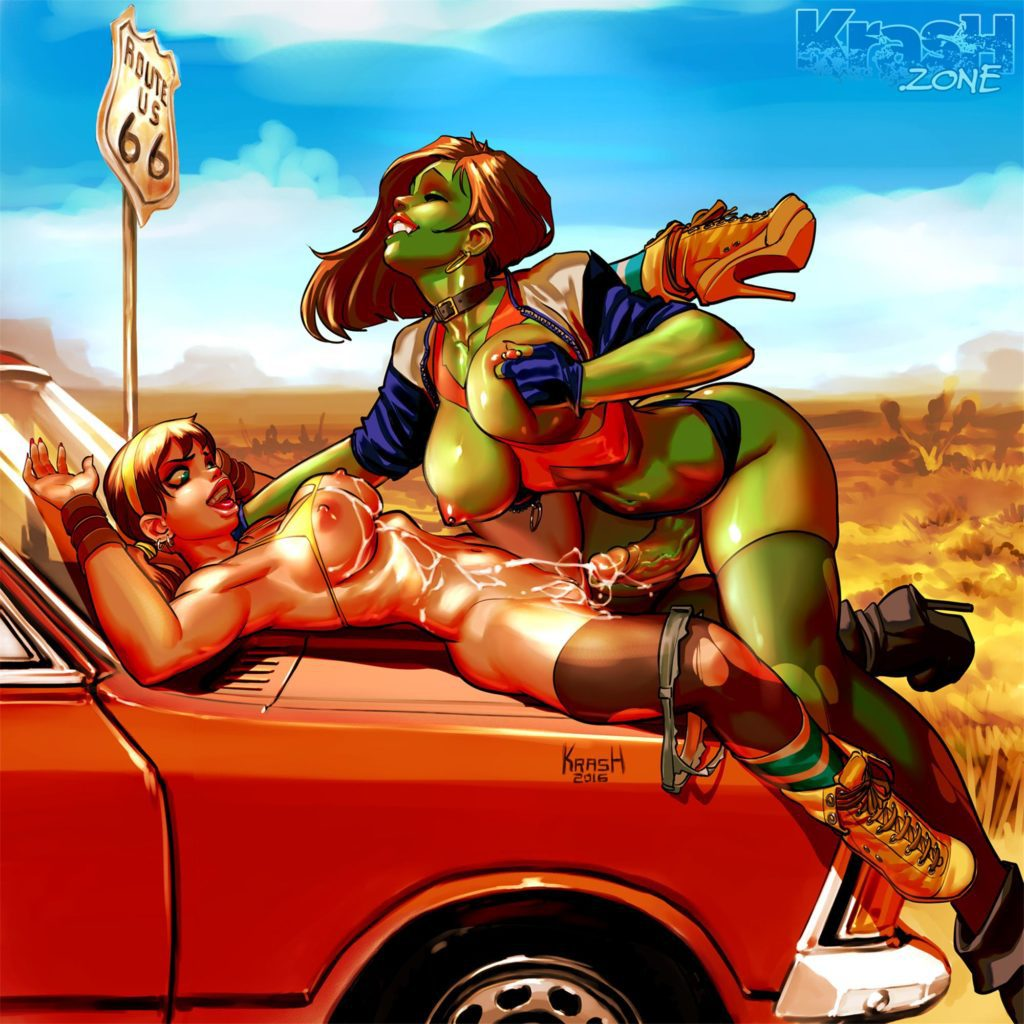 She-Hulk fucking a girl on the hood of a car