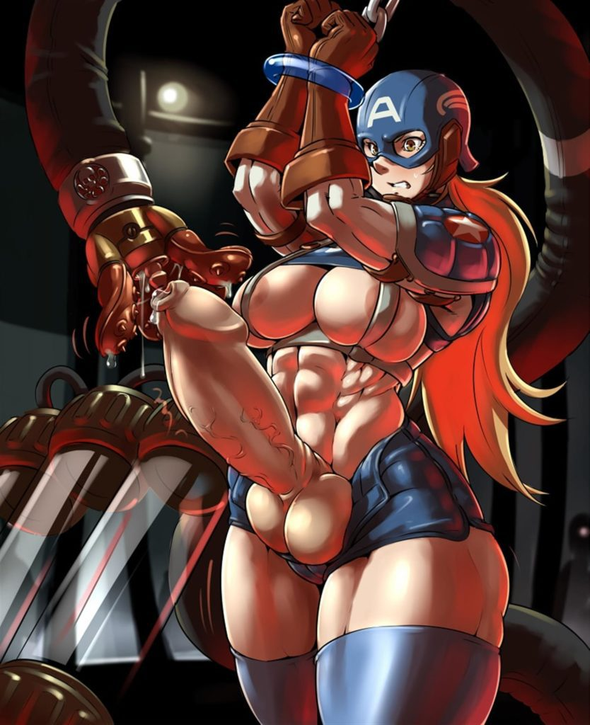 Female captain america getting her dick sucked by a tentacle maschine