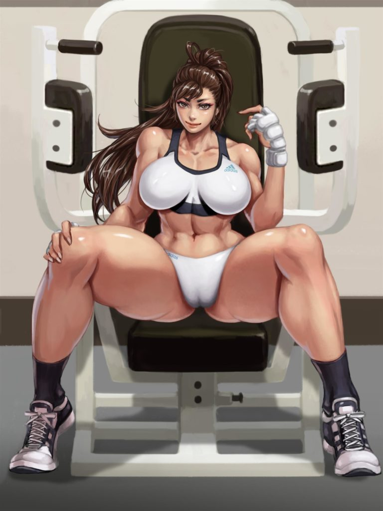 Chun Li working out with a press looking thick fit and muscular