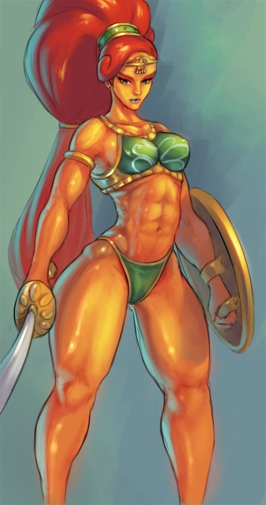 Gerudo warrior big abs and muscles posing with sword and shield