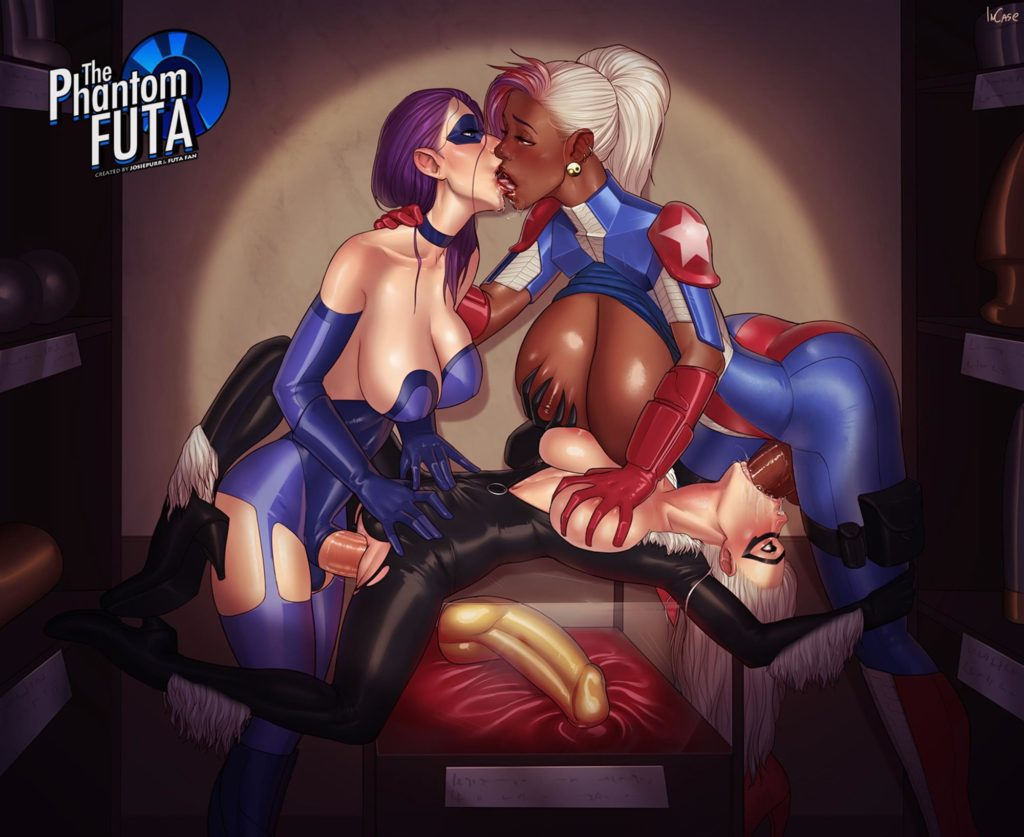 The Phantom Futa and Miss America fucking Black cats ass and mouth spitroast