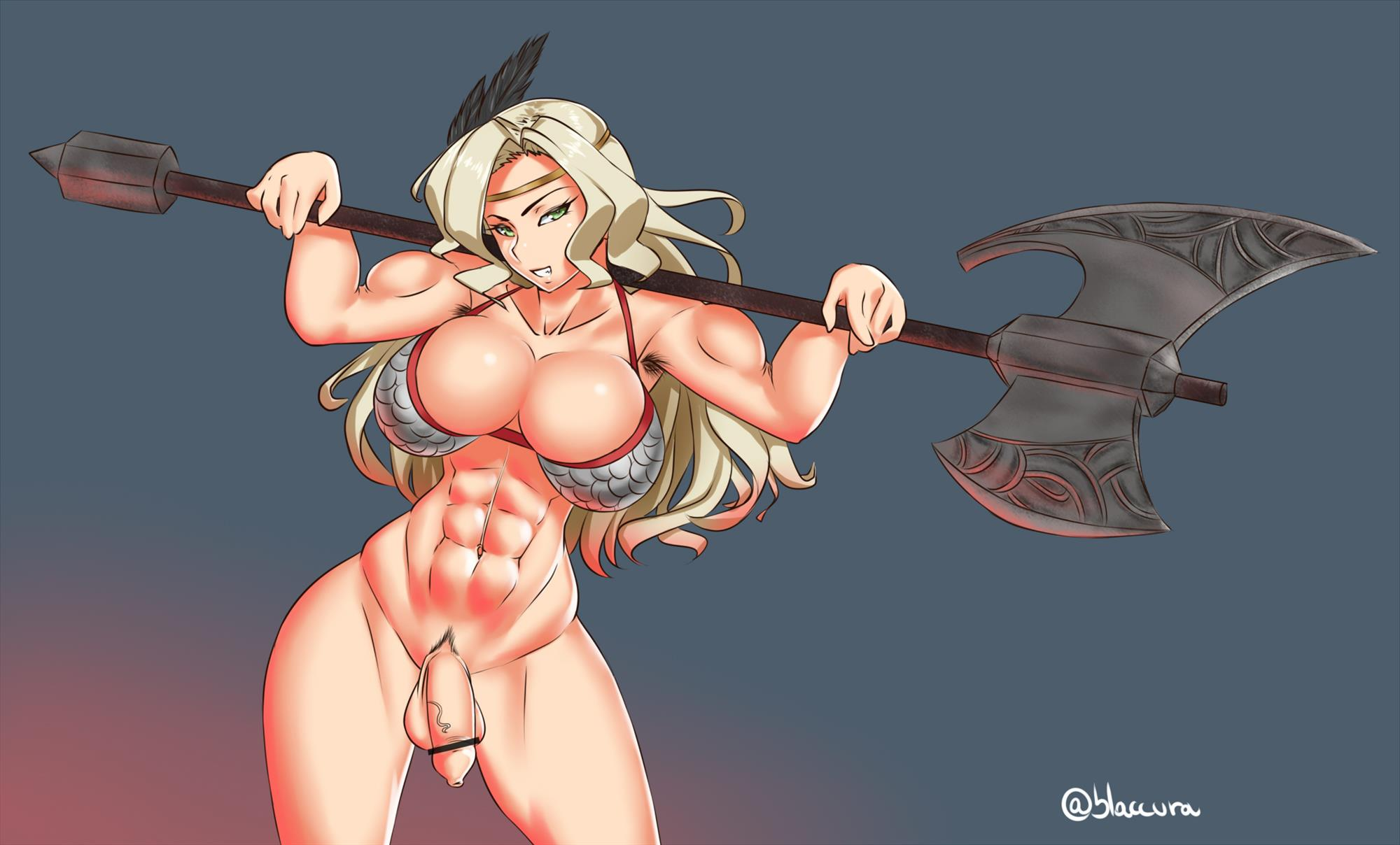 Muscular Amazon posing with her halberd nude