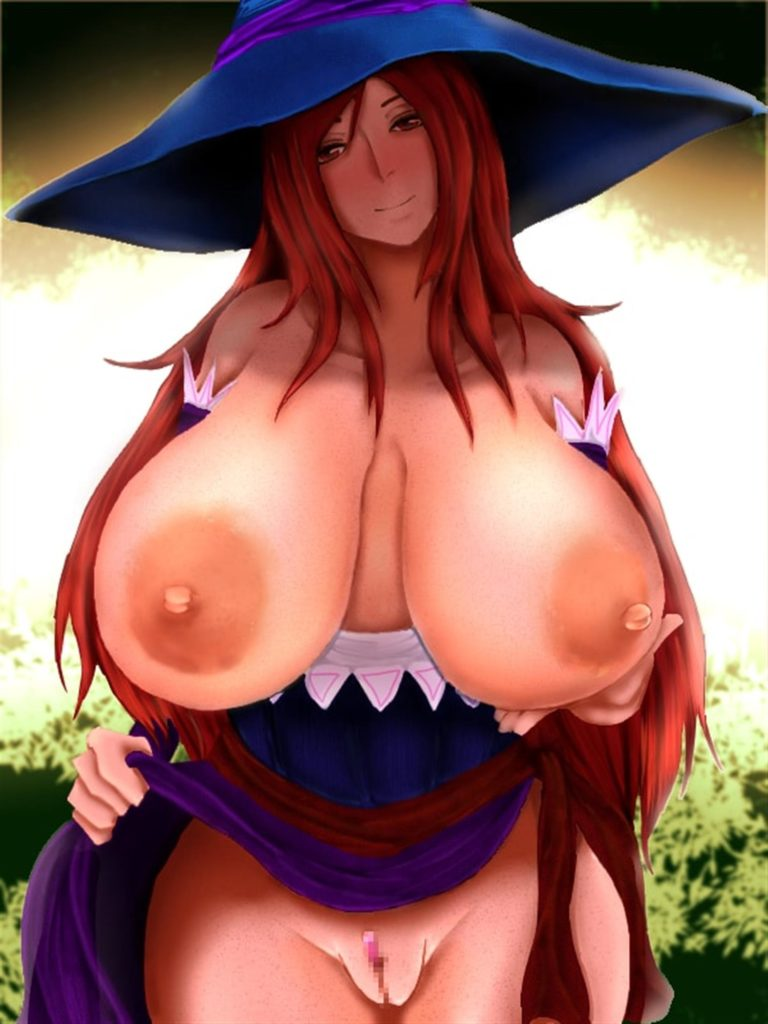 Sorcress exposing her huge breasts