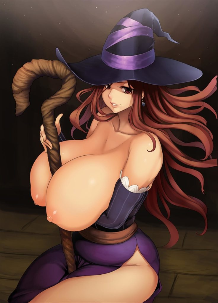 Sorceress has her staff in between her huge breasts