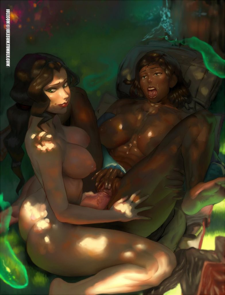 Asami and Korra having sex in the woods