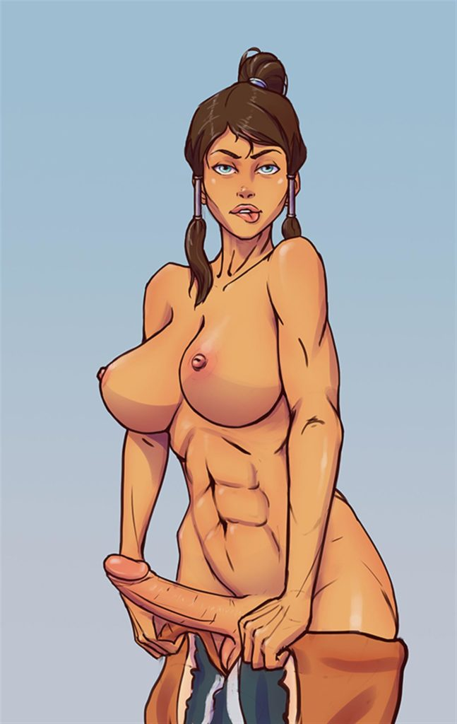 Muscular Korra with abs and a dick