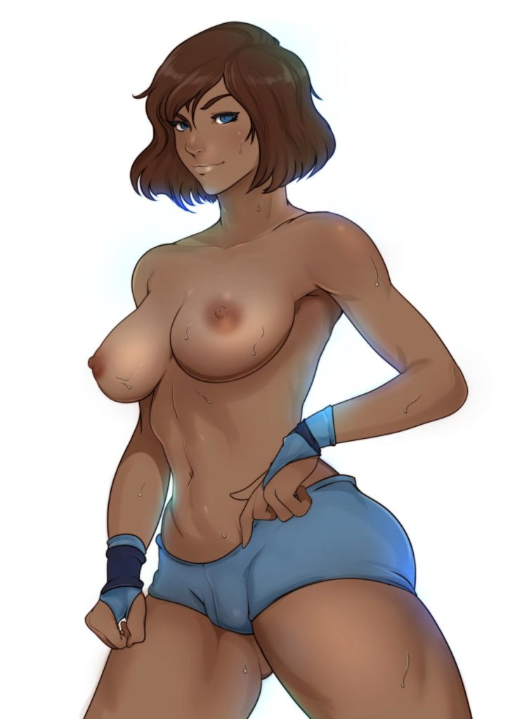 Korra topless in shorts with a bulge