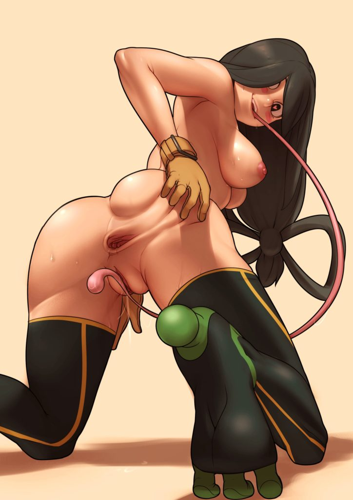Froppy spreading her gaping asshole and licking her own pussy