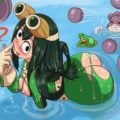 Froppy is wearing a backless suit also topless