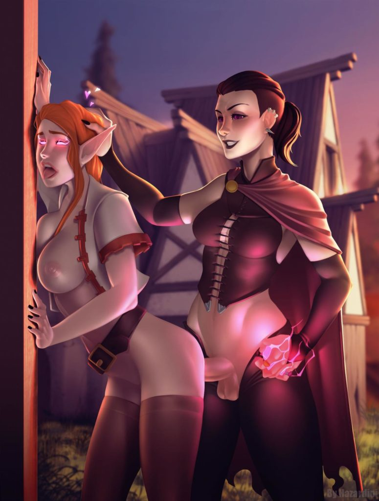Futa Sorceress raping an elf