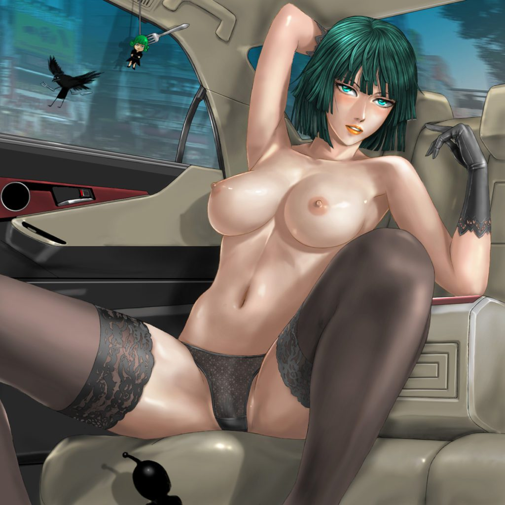 Fubuki in the car spreading her legs in her panties