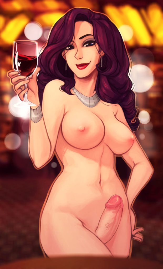 Rarity drinking wine nude and erect