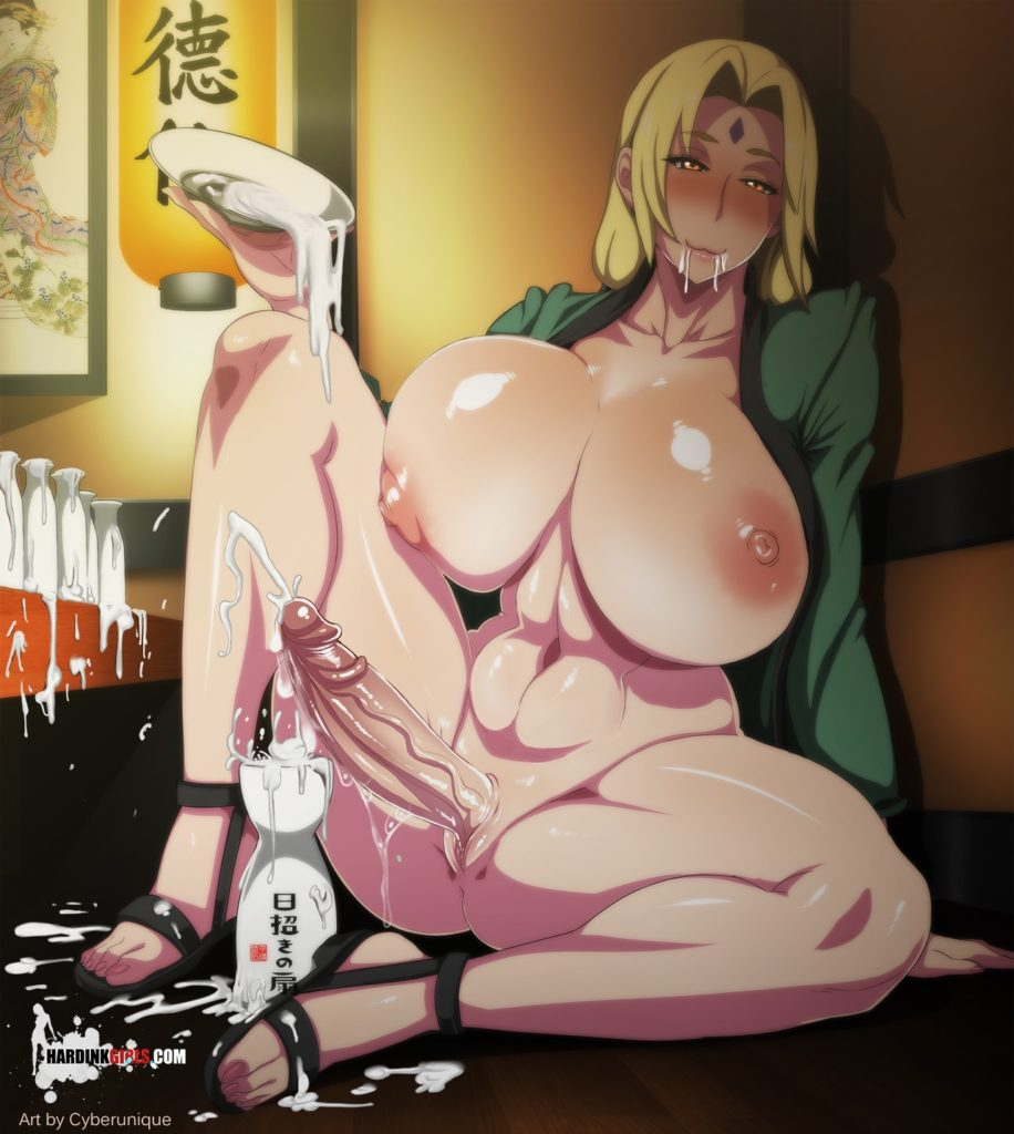 Tsunade filled her sake cup with cum