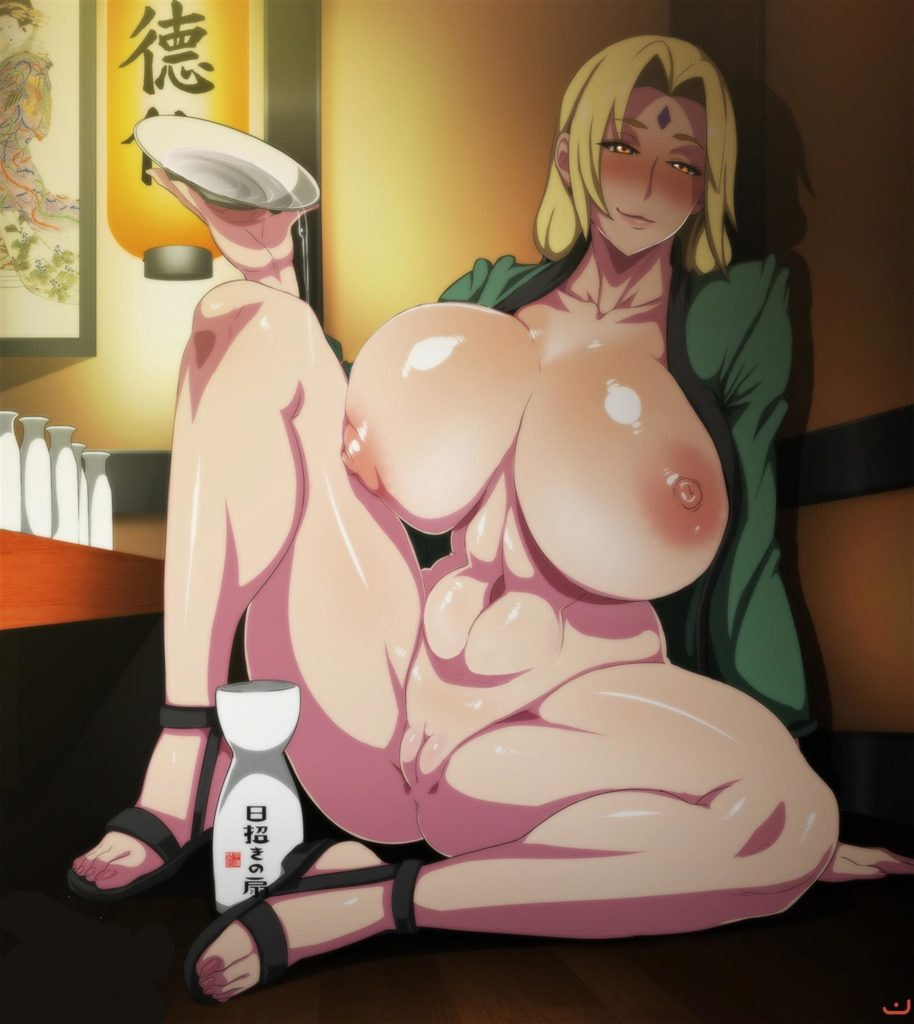 Thick Tsunade drinking