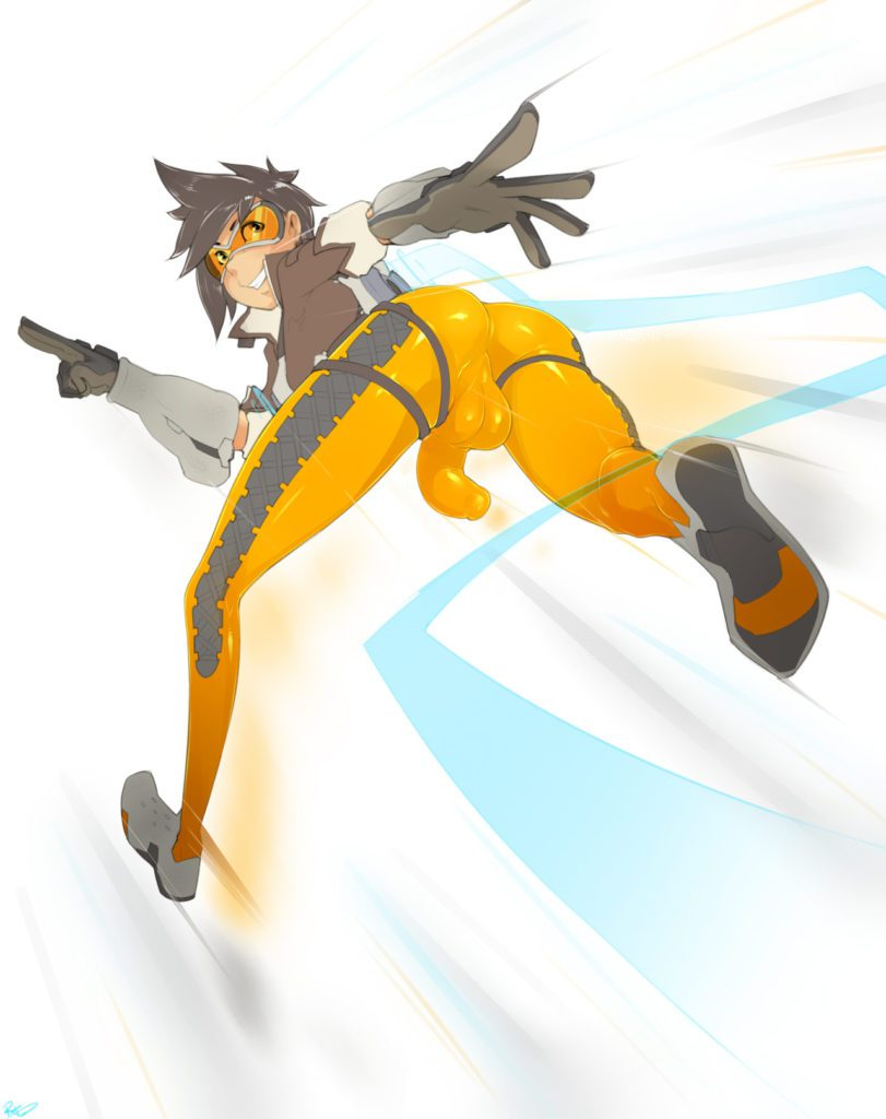 Tracer running with her dick hanging out