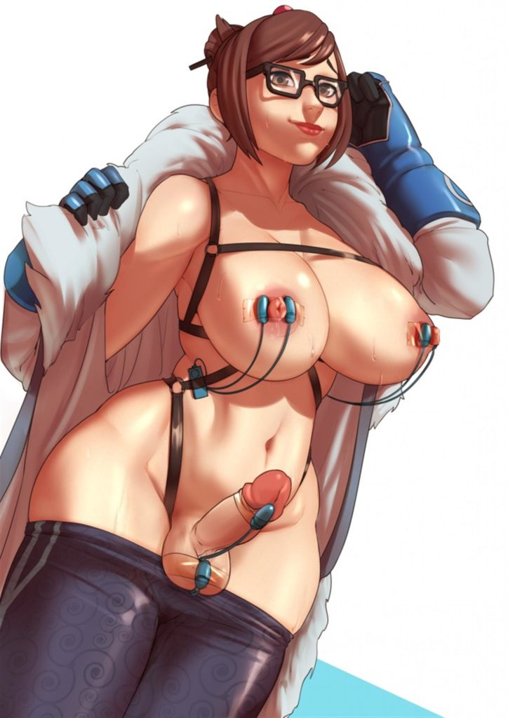 Futa Mei wearing vibrators on her body