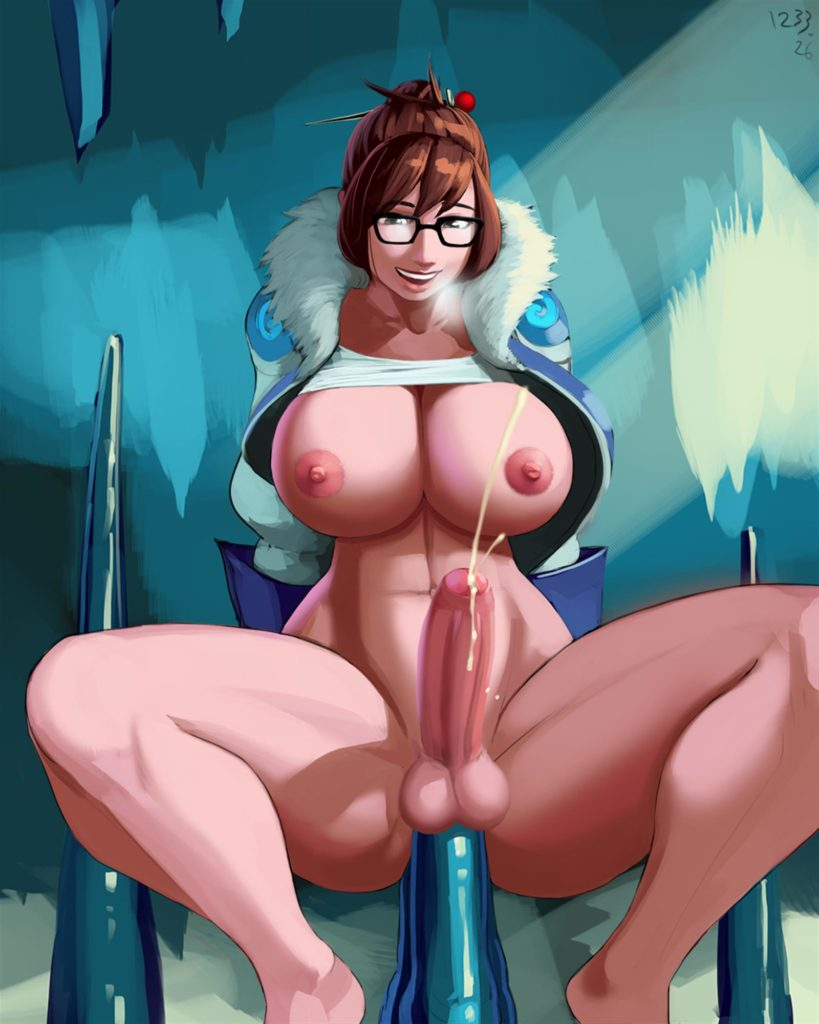 Futa Mei using an icicle as a dildo