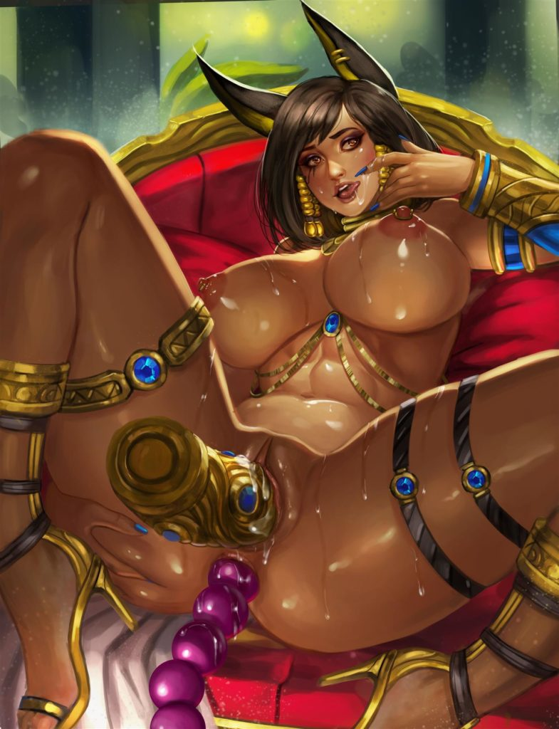 Egyptian style Pharah masturbating with a dildo and analbeads