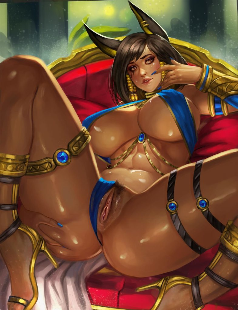Egyptian style Pharah spreading her legs
