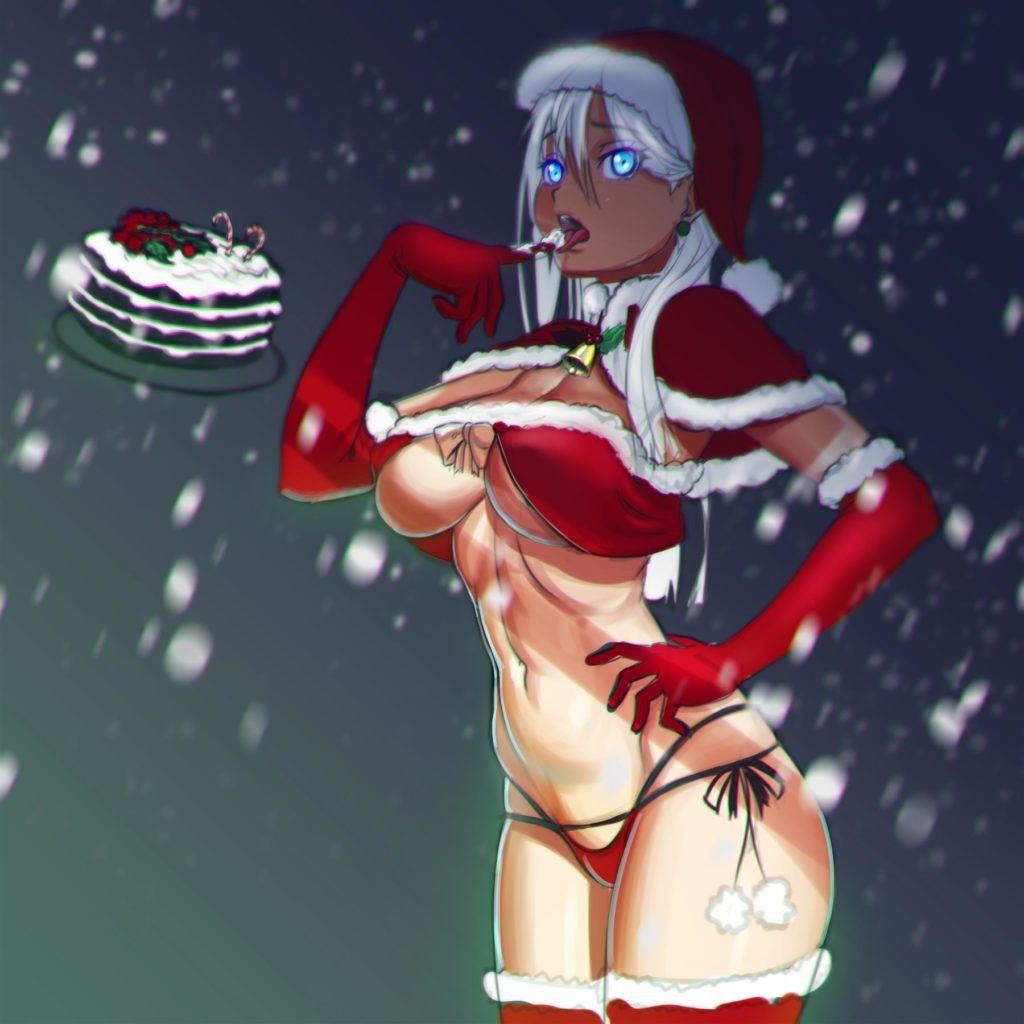 Girl in skimpy santa clothes tasting floating cake
