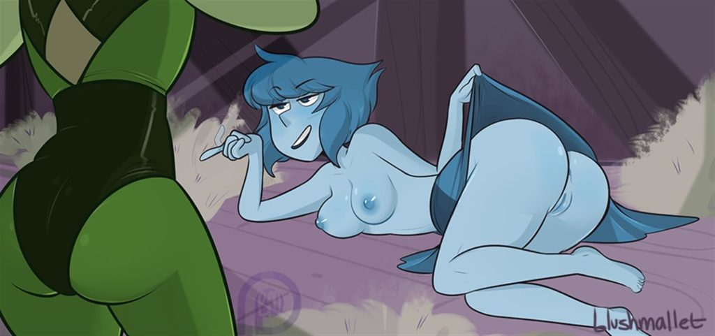 Lapis trying to seduce Peridot using her ass
