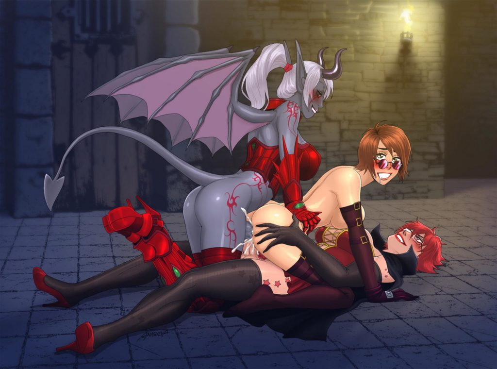 Futa demon and vampire fuck girl