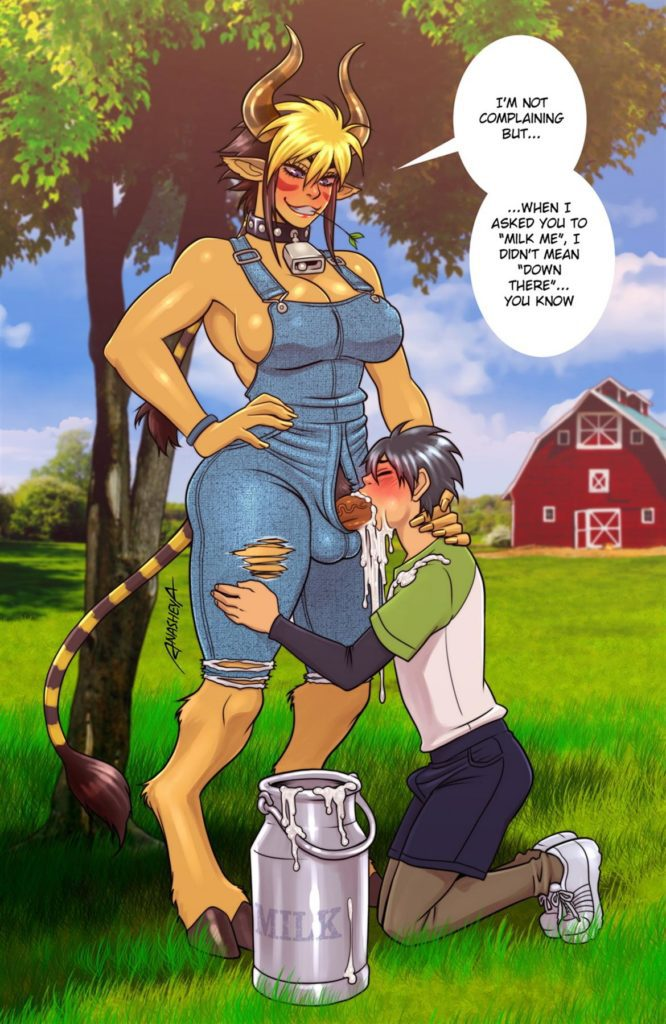 Boy milking a futa minotaur with his mouth