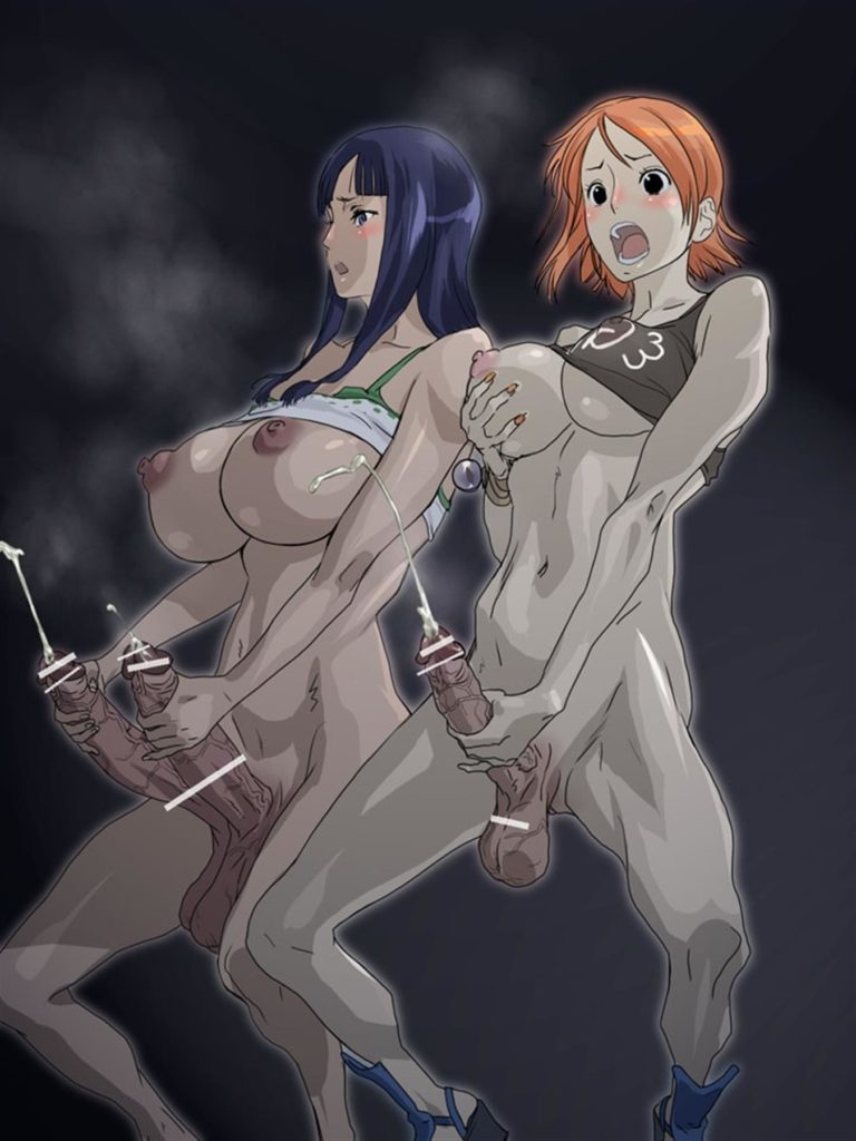 Robin and Nami jerking off their dicks together