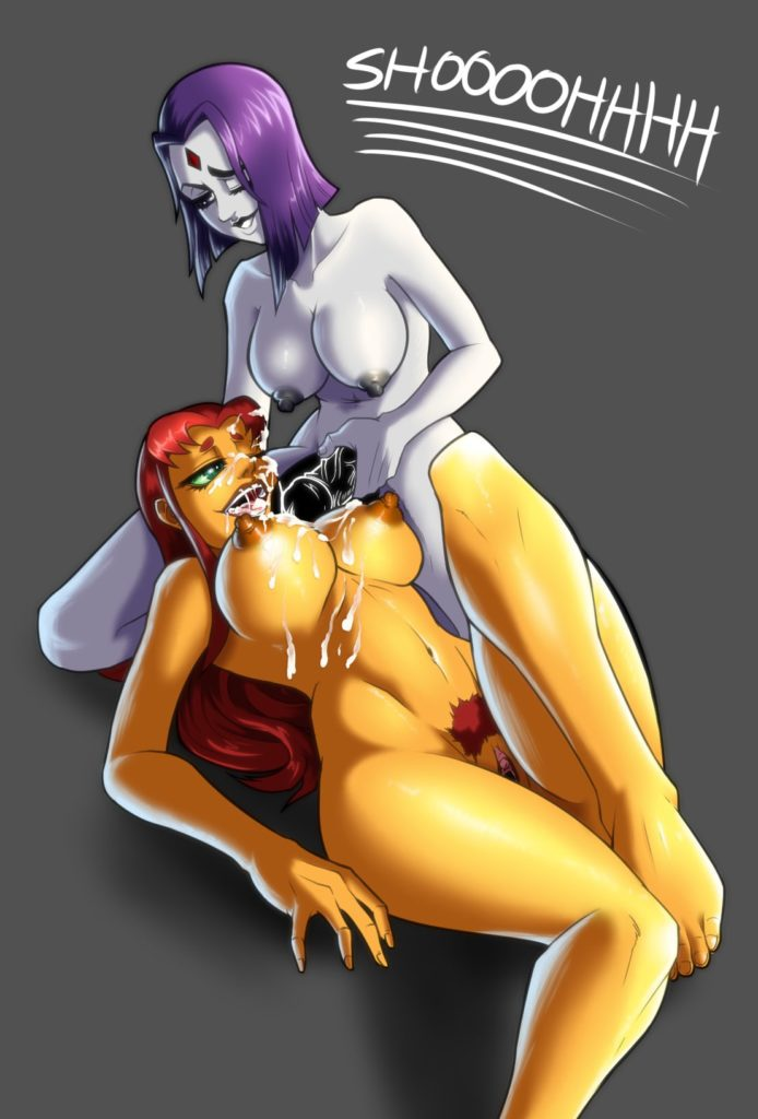 Raven spraying cum on Starfires tits and mouth