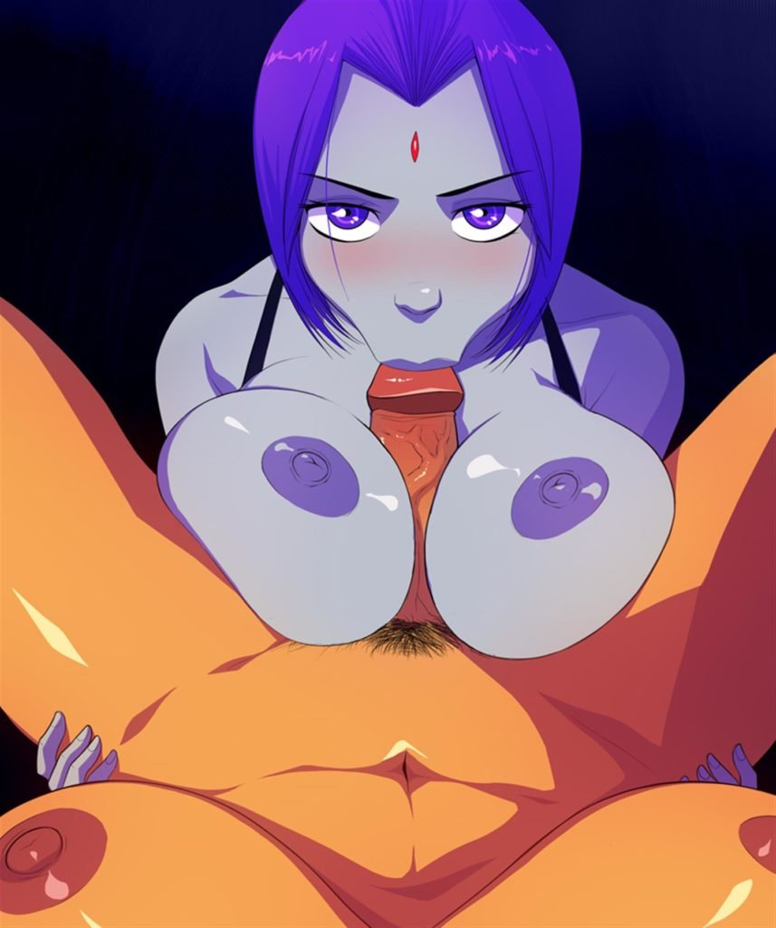 Raven giving Starfire a blowjob titfuck