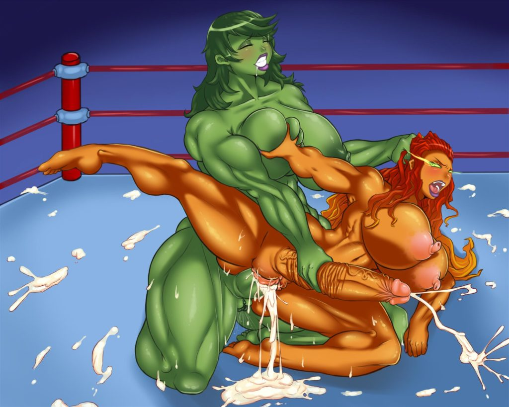 Muscular futa She Hulk creampies Starfire after a wrestle