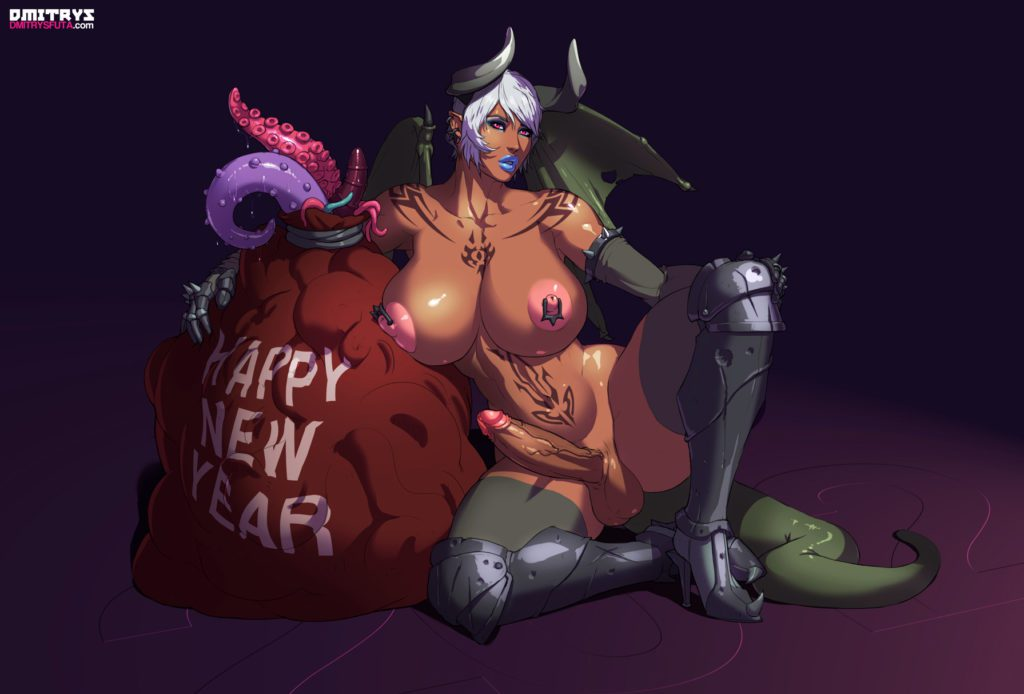 Futa demon has a sack full of tentacles and a happy new year