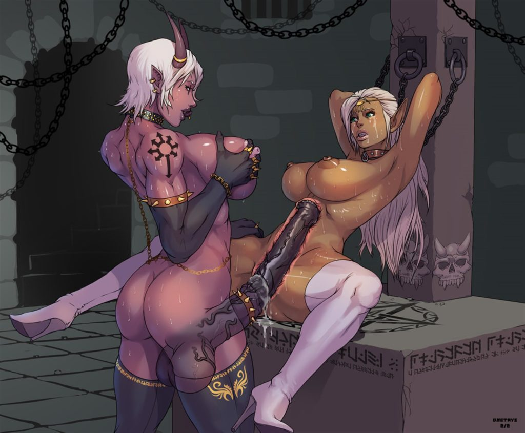 Futa demon fucking chained up girl with huge cock