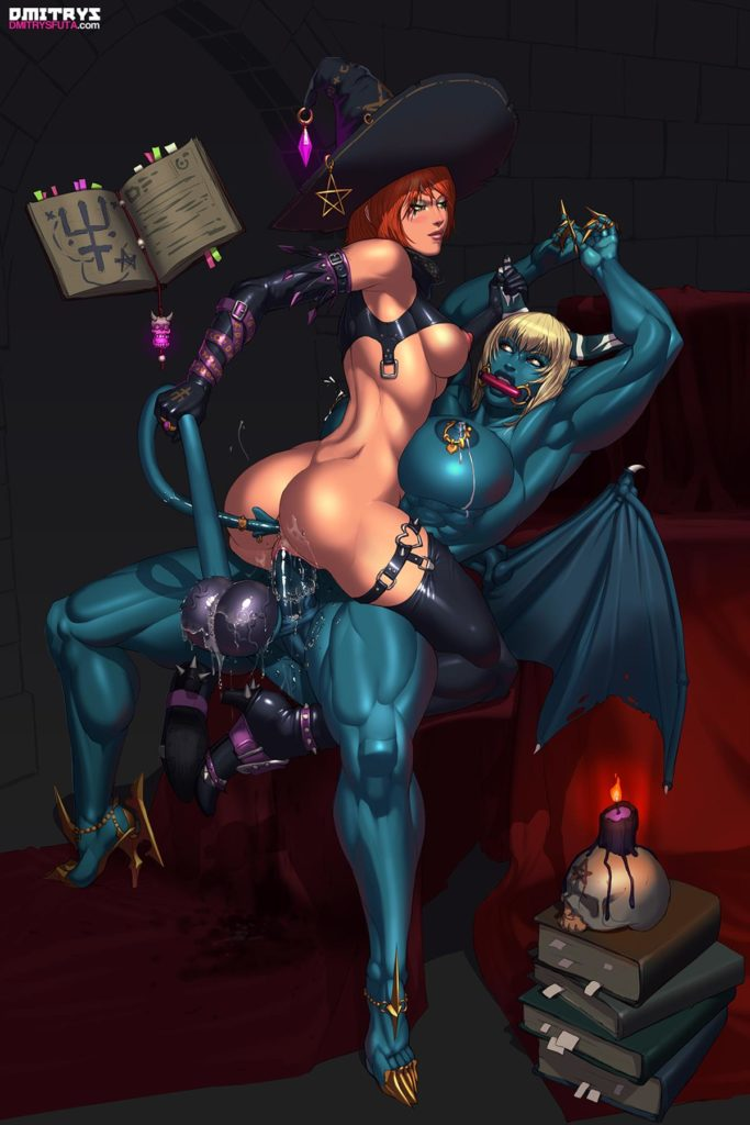 Witch rides futa demons cock while pulling her tail