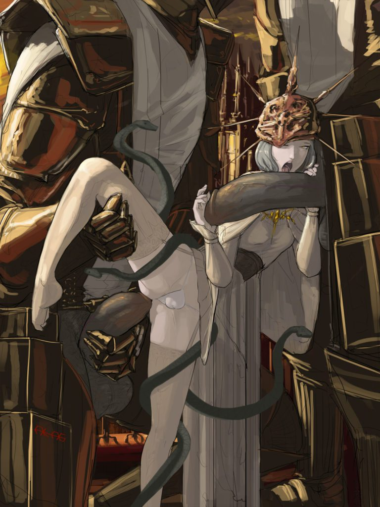 Gwyndolin about to get a huge dick in her ass
