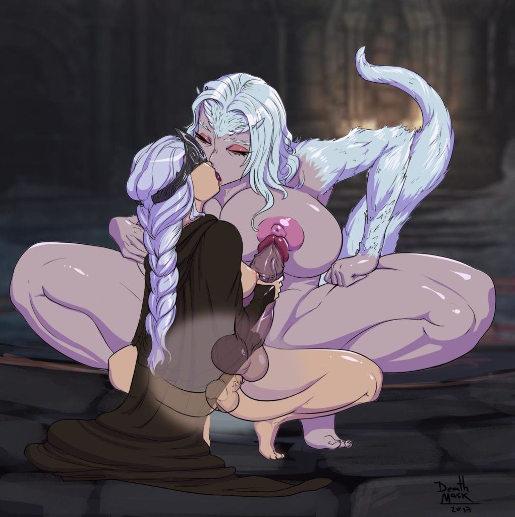 Fire Keeper and Priscilla having futa lesbian sex while kissing