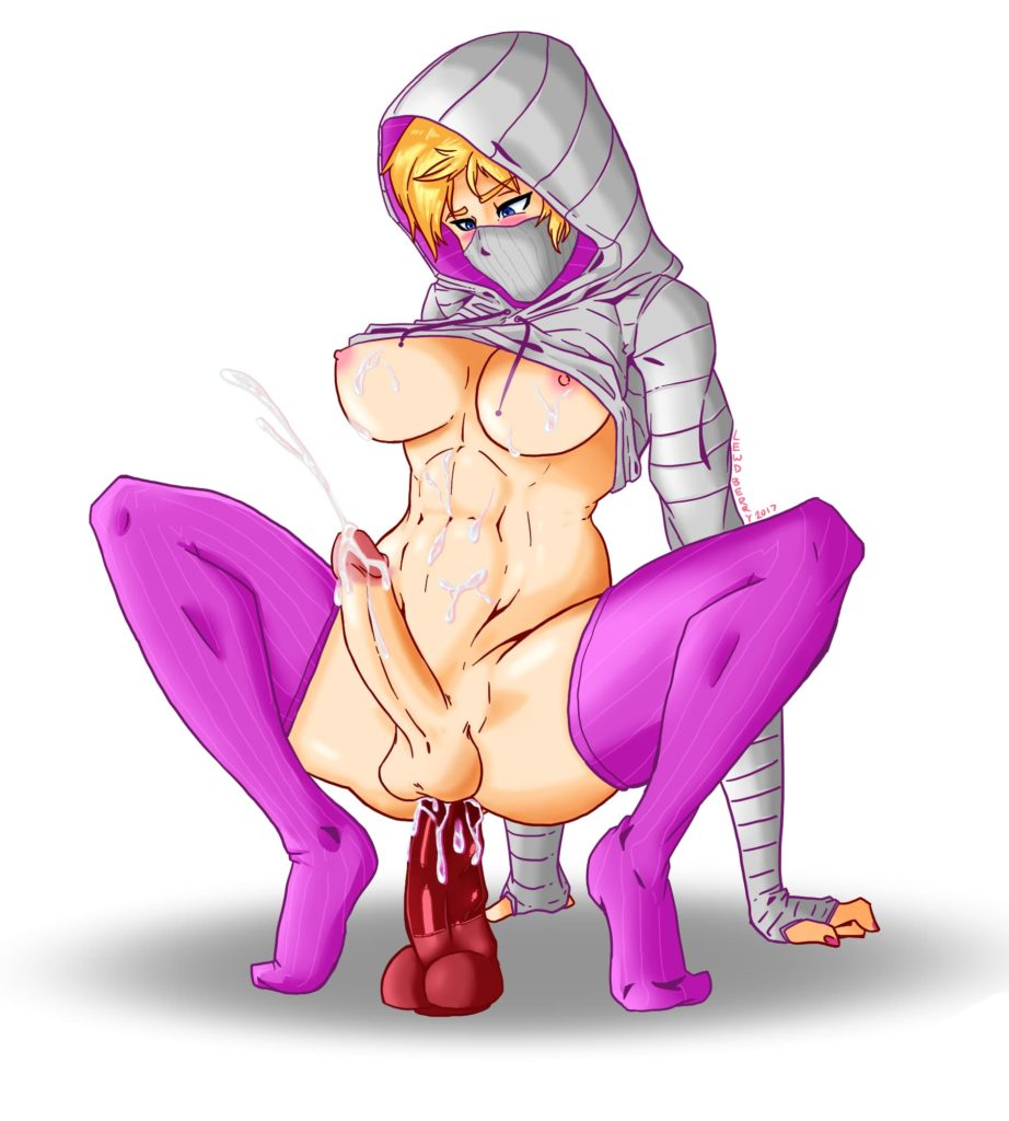 Futa Iq from rainbow six riding a dildo