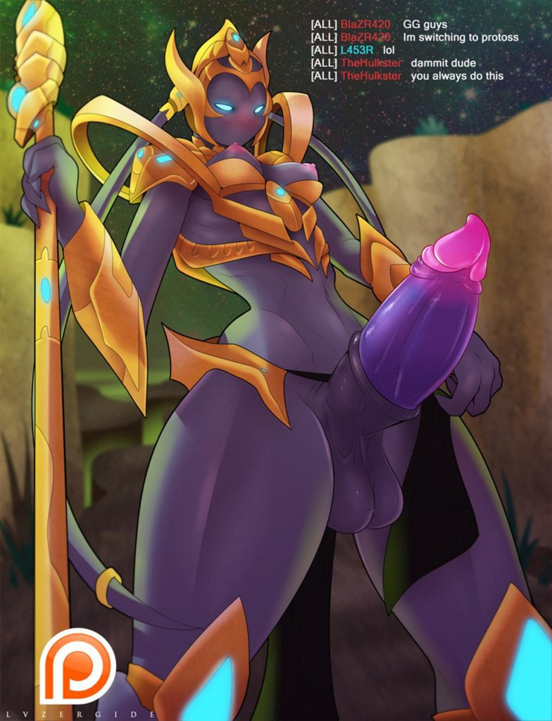 Protosss futa girl with a strange alien dick